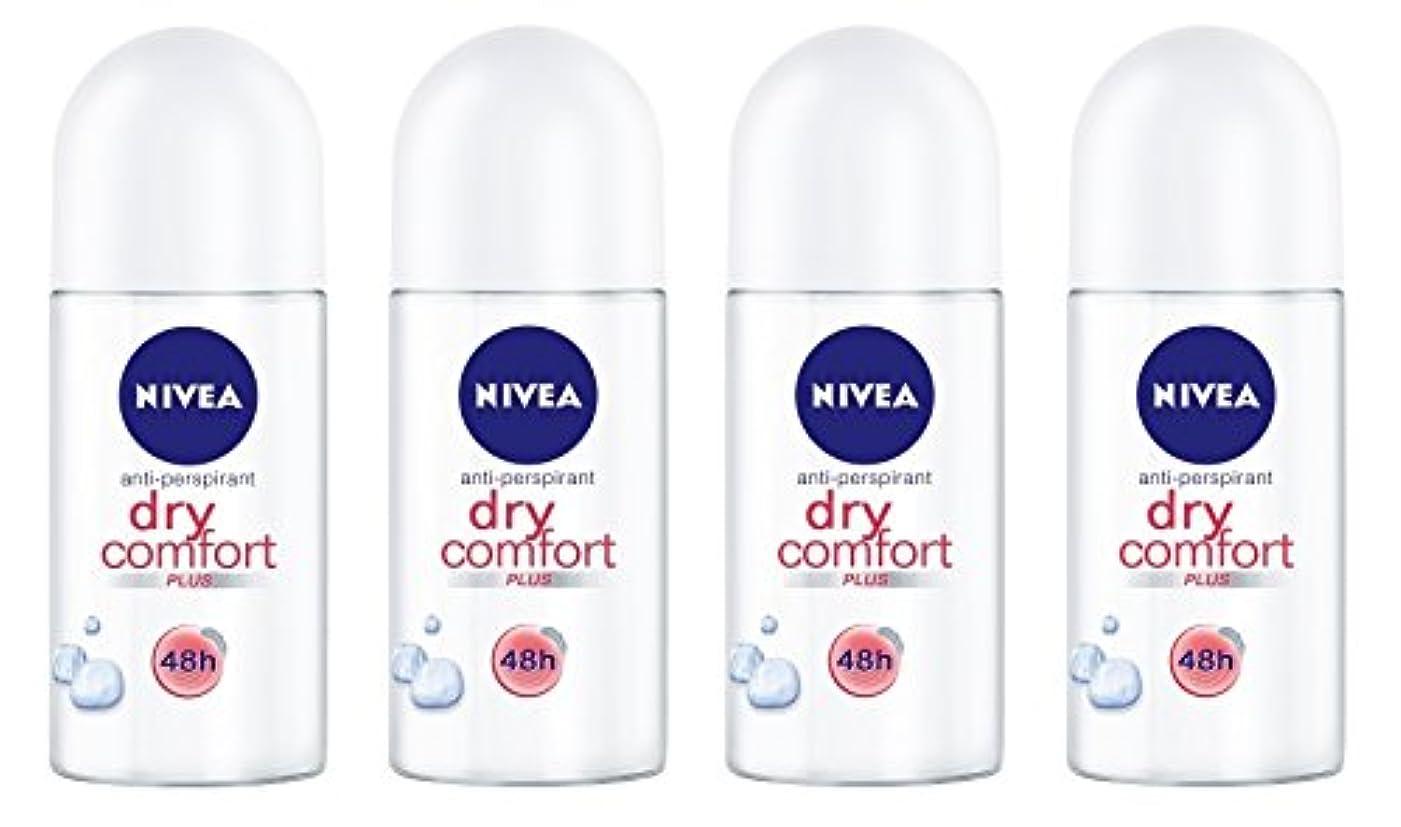 屋内で公爵エキゾチック(Pack of 4) Nivea Dry Comfort Plus Anti-perspirant Deodorant Roll On for Women 4x50ml - (4パック) ニベアドライ快適プラス制汗剤デオドラントロールオン...