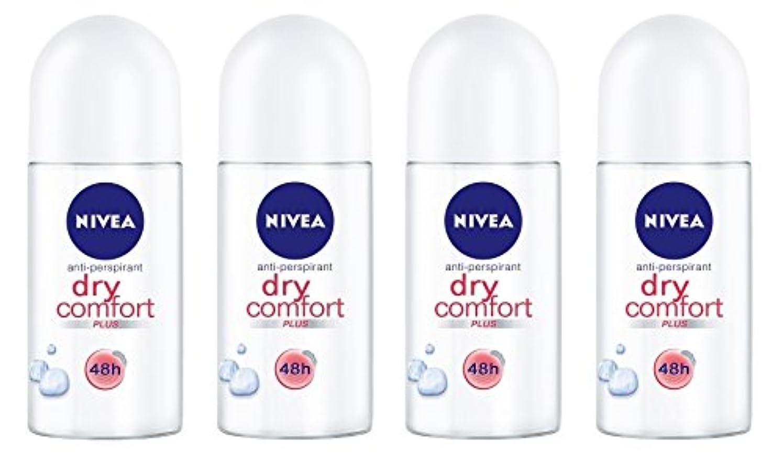 悪用キャッチ人道的(Pack of 4) Nivea Dry Comfort Plus Anti-perspirant Deodorant Roll On for Women 4x50ml - (4パック) ニベアドライ快適プラス制汗剤デオドラントロールオン...