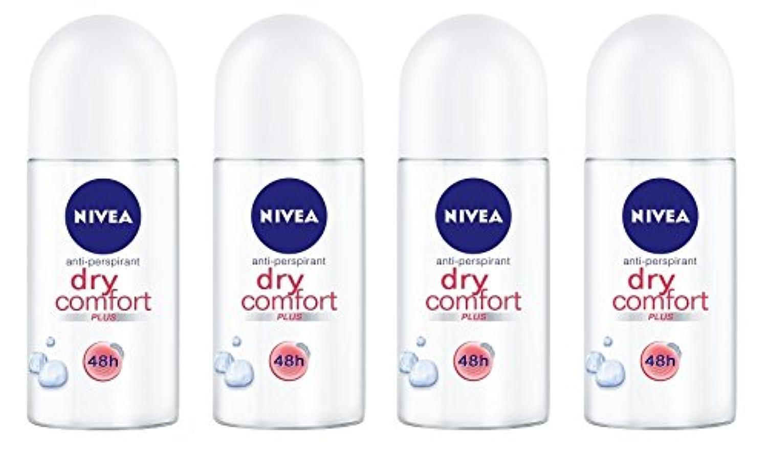 許される不変アレルギー(Pack of 4) Nivea Dry Comfort Plus Anti-perspirant Deodorant Roll On for Women 4x50ml - (4パック) ニベアドライ快適プラス制汗剤デオドラントロールオン...