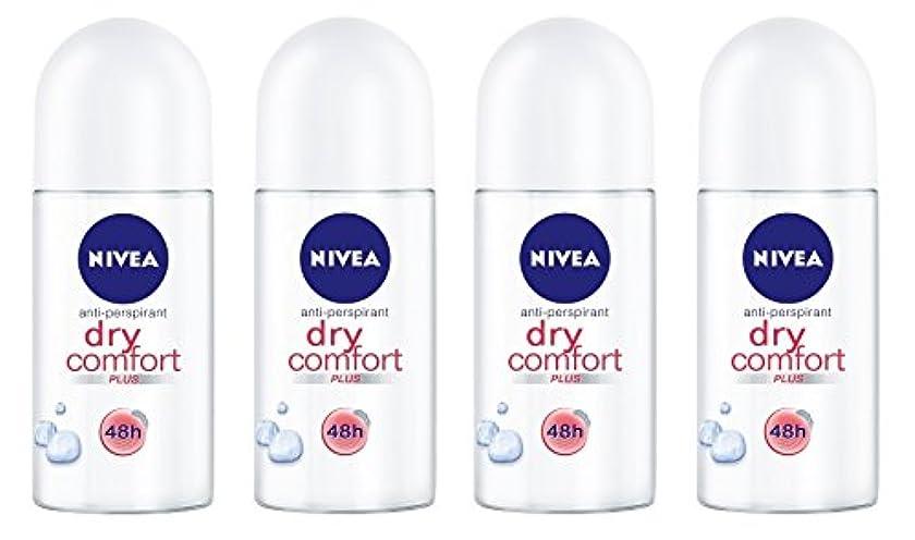 是正するリングレット飢(Pack of 4) Nivea Dry Comfort Plus Anti-perspirant Deodorant Roll On for Women 4x50ml - (4パック) ニベアドライ快適プラス制汗剤デオドラントロールオン...