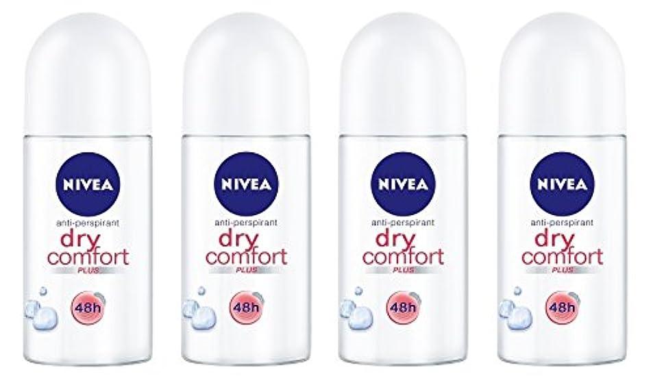 冗長領域いくつかの(Pack of 4) Nivea Dry Comfort Plus Anti-perspirant Deodorant Roll On for Women 4x50ml - (4パック) ニベアドライ快適プラス制汗剤デオドラントロールオン...