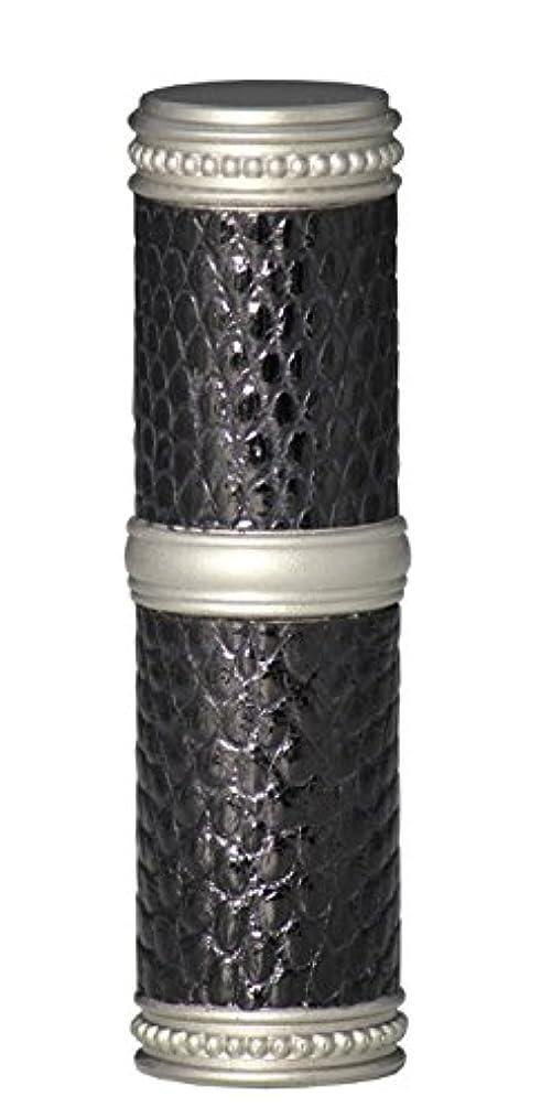 インポート戦い縮れたヒロセアトマイザー 手作りブラスアトマイザー リザード本革巻き 95203 MSBK (ブラスリザード マットシルバー/ブラック)