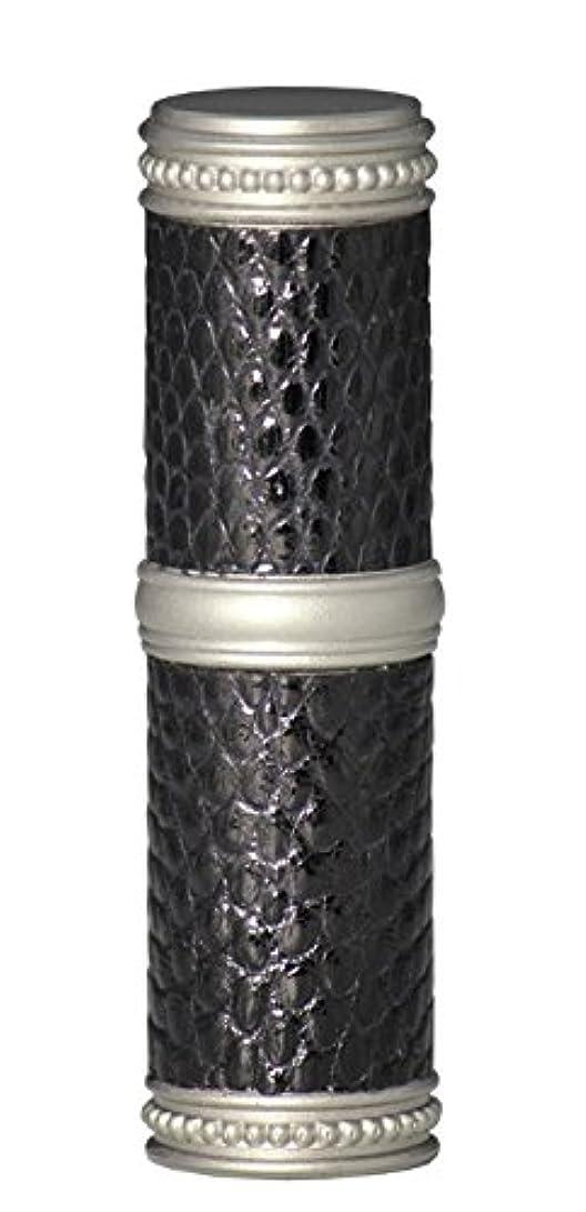 減るオデュッセウス擬人ヒロセアトマイザー 手作りブラスアトマイザー リザード本革巻き 95203 MSBK (ブラスリザード マットシルバー/ブラック)