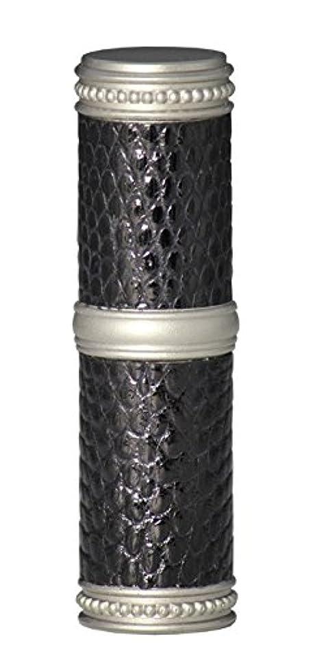 テニス後方に空いているヒロセアトマイザー 手作りブラスアトマイザー リザード本革巻き 95203 MSBK (ブラスリザード マットシルバー/ブラック)