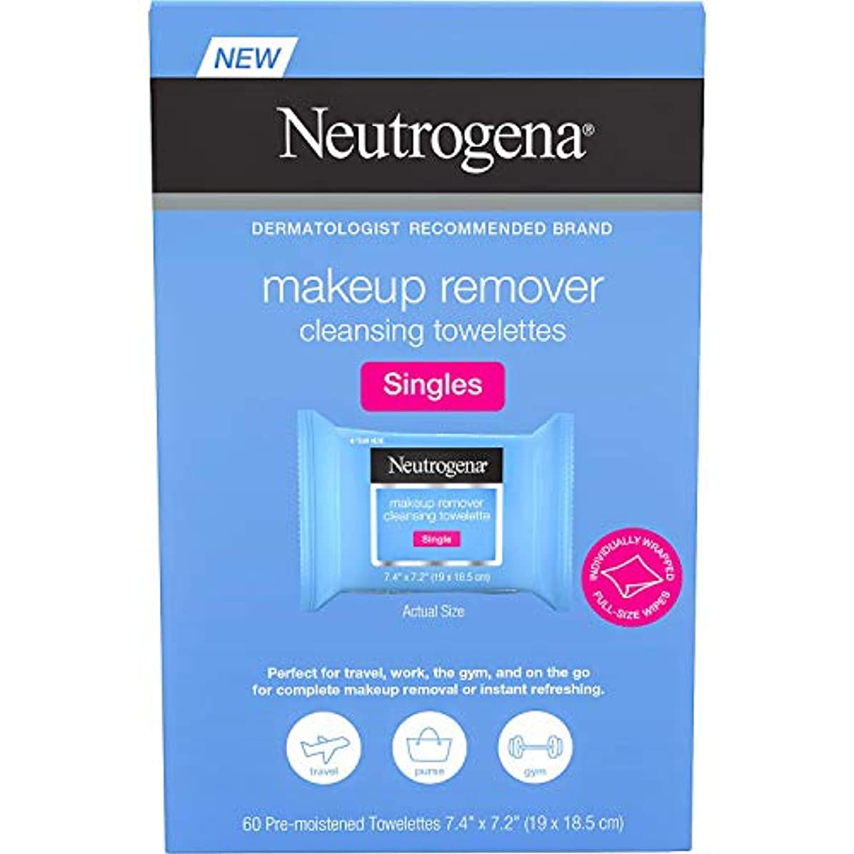 奪う錆びアコーNEUTROGENA Makeup Remover Cleansing Towelettes Singles Pack - 60 Count -2 Pack