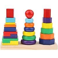P Prettyia カラフル 虹色 リング 八角形 長方形 幾何学ブロック ジオメトリブロックタワーおもちゃ