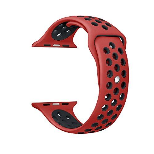 Kartice Apple Watch Nike +/Apple Watch/Apple Watch Series 2 バンド ソフトシリコンバンド スポーツバンド シリコンアダプター付き (38mm, 赤+黒)
