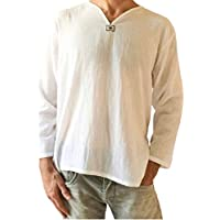 Love Quality Men's Summer T-Shirt 100% Cotton Thai Hippie Shirt V-Neck Beach Yoga Top