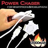 ビッグスター iPhone5対応 スマートフォン・携帯電話対応 2000mAh リチウムイオンカルテット充電器 (4in1コネクタ付) ホワイト BSC-2010WH4CT