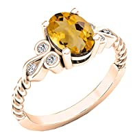 14K ローズゴールド 8x6mm オーバル&ラウンド ホワイトダイヤモンド レディース ユニーク ヴィンテージ 婚約指輪