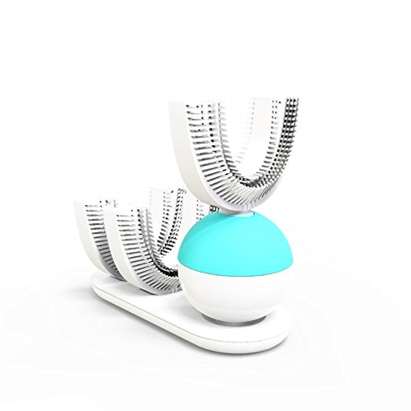追い払う自由スラム街怠け者牙刷-電動 U型 超音波 専門370°全方位 自動歯ブラシ ワイヤレス充電 成人 怠け者 ユニークなU字型のマウスピース わずか10秒で歯磨き 自動バブル 2本の歯ブラシヘッド付き あなたの手を解放 磁気吸引接続...