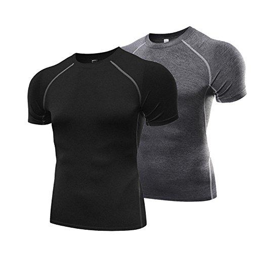 オールシーズン 半袖 加圧インナー 2セット 加圧シャツ ラウンドネック スポーツシャツ [UVカット・吸汗速乾] コンプレッションウェア パワーストレッチ アンダーウェア グレー+ブラック M
