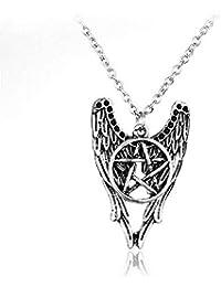 Supernatural Castiel Angel Wings五角形ネックレスCas Sam Dean Winchester