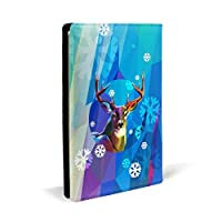 ユニークな鹿 PUレザー ブックカバー A5サイズ 文庫本サイズ ブックカバー 新書サイズ 選べるイニシャル ブックカバー