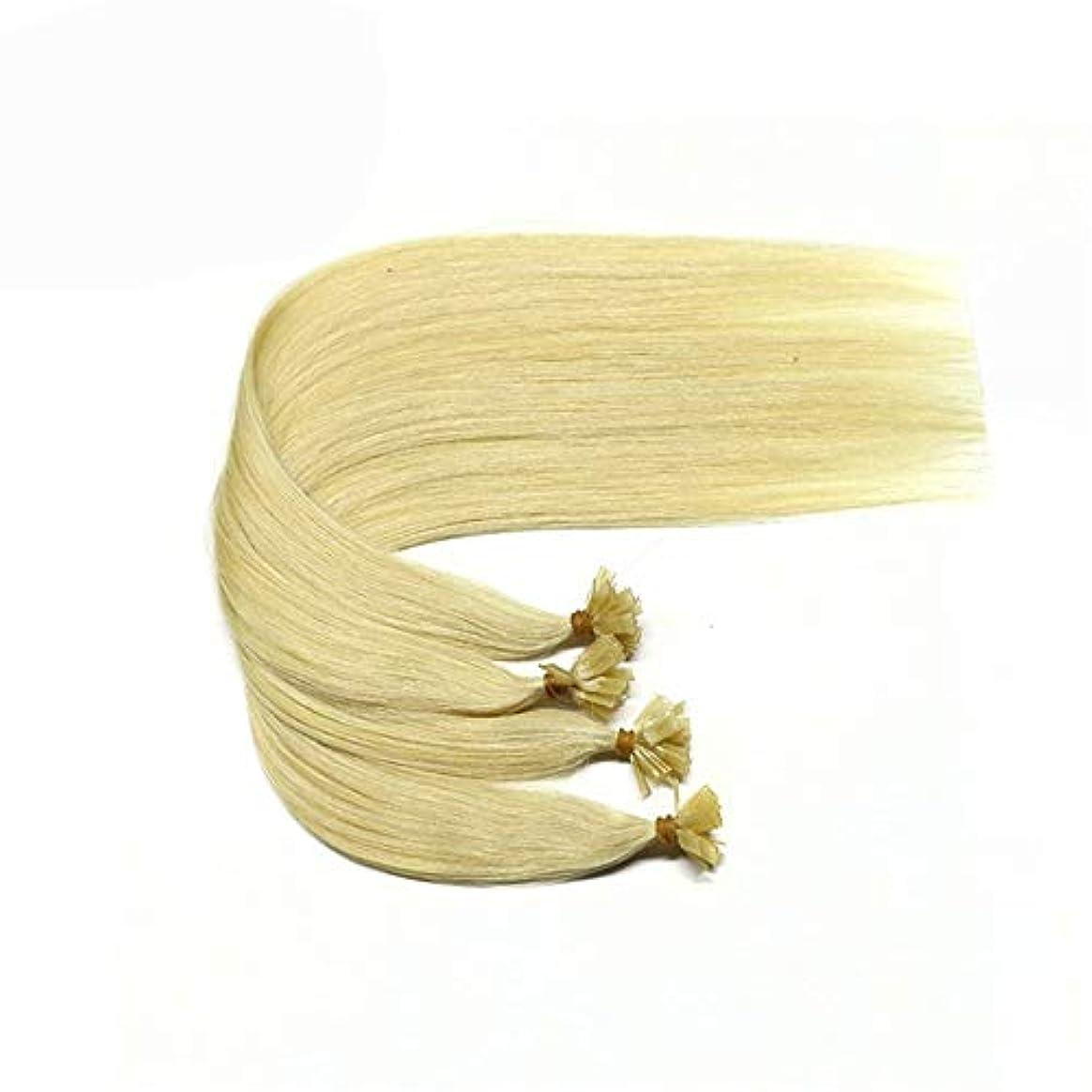 くぼみストリップ悪党WASAIO 女性のためのヘアエクステンションクリップシームレスな髪型の交換前の結合ヒトブロンドの着色マイクロリング (色 : Blonde, サイズ : 16 inch)