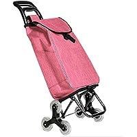 ショッピングカートの折り畳み便利な自転車階段の登山カート老人が車輪を持つカートを購入する (色 : Pink)