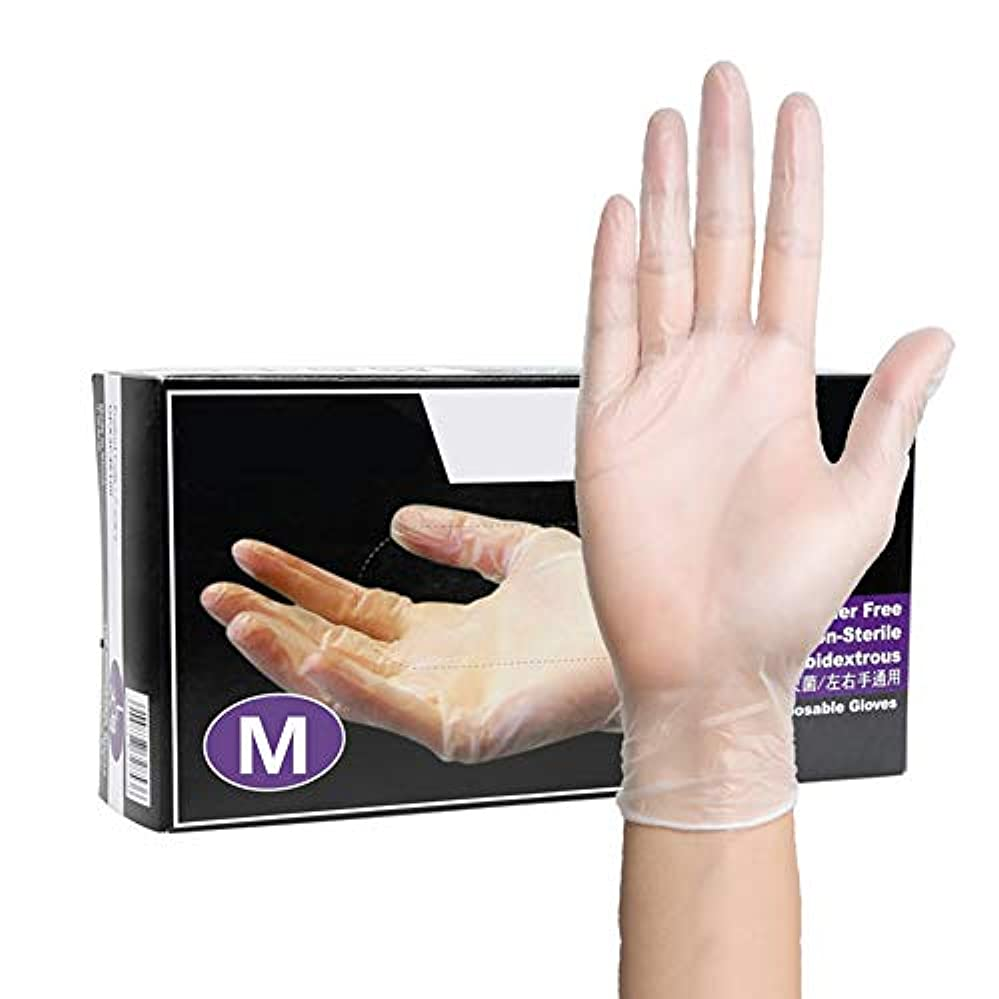 使い捨て トランスペアレント ビニール 手袋、 パウダーフリー、ラテックスフリー、にとって 家庭用クリーニ ング 美容タトゥー 作業 グローブ、(100 Pcs /1 Box),M