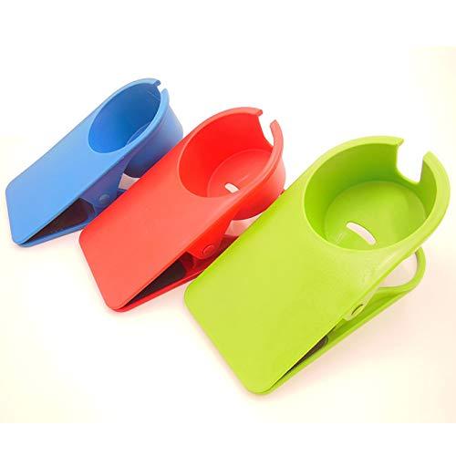 クリップ式カップホルダー カップ ホルダー ドリンク コップ ボトル 置き場 テーブル サイド 机 雑貨 飲み物 テーブルにカップホルダーを増設(赤/青/緑の3色セット)