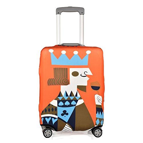 クロース(Kroeus)スーツケースカバー 伸縮素材 擦り傷 汚れ 厚め 防塵カバー 耐久性 ラゲッジカバー おしゃれ 紛失防止 保護カバー キャリーバッグカバー 着脱簡単 撥水 目立つ オレンジ/キング XL