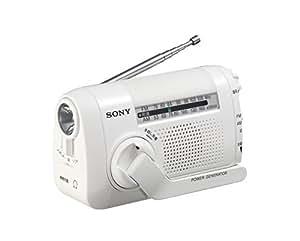 ソニー SONY ポータブルラジオ ICF-B09 : FM/AM/ワイドFM対応 手回し充電対応 ホワイト ICF-B09 W