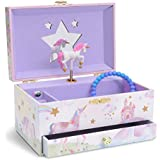 (Glitter Rainbow Unicorn) - JewelKeeper Girl's Musical Jewellery Storage Box with Pullout Drawer, Glitter Rainbow and Stars Unicorn Design,Somewhere Over The Rainbow Tune