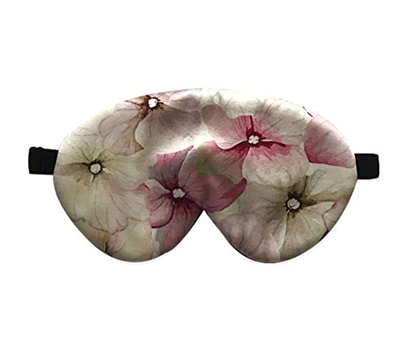 たらいスラダムチャンバー両面シルクアイマスク調節可能なストラップ付きのエレガントなアイシェードスリープアイマスク (魅力的な花)