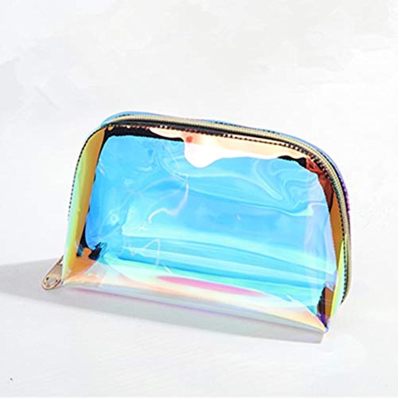 元気な伝染性大臣GUJIJI 化粧ポーチ 大容量 防水 軽量便利 旅行 出張 温泉 防水 収納 镭射デザイン多機能バッグ 透明化粧品ボックス (SMALL, マルチカラー)