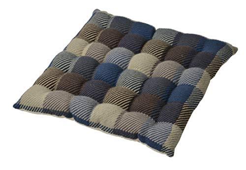 萩原 インド綿ウール混シートクッション メルモ 幅400×奥行400mm ブルー 270065615 1個