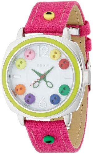 腕時計  DEEP(ディープ) アナログレザーウォッチ ボタン ピンク DT064-2 レディース フィールドワーク