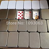 Golden : Pack of 10 Square Metal Box Container Tin Card Poker Paperclip Bank Credit Card Holder Silver White