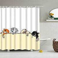 フック付きの耐久性のあるシャワーカーテン黄色のシャワーカーテンの上に4つのかわいい漫画猫防水ポリエステル生地風呂カーテン 165x180 cm