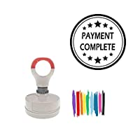 Payment Complete Round Office Stamp With Stars pre-inked