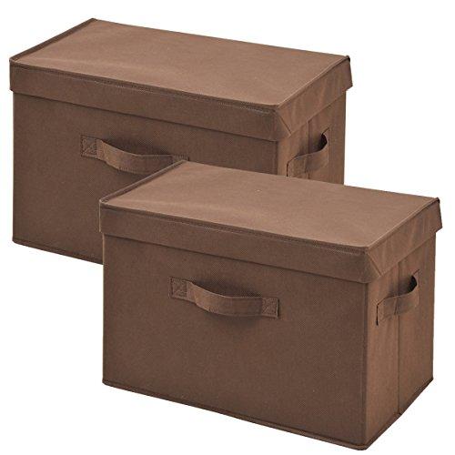 山善(YAMAZEN) どこでも収納ボックス ふた付 2個セット ブラウン ...