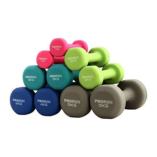 PROIRON ダンベル 1kg 「2個セット」エクササイズ ネオプレンゴムコーティング 筋力トレーニング 筋トレ シェイプアップ 鉄アレイ 鉄アレー(ブルー)