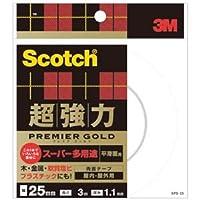 (まとめ) 3M スコッチ 超強力両面テープ プレミアゴールド (スーパー多用途) 25mm×3m SPS-25 1巻 【×4セット】 ds-1574055
