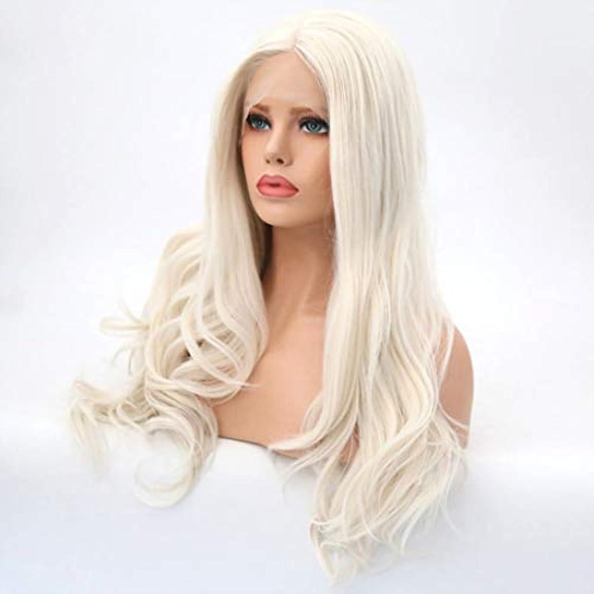 カップファブリック帰るKerwinner 女性のための長い巻き毛のかつらフロントレース高温シルクケミカルファイバーウィッグ
