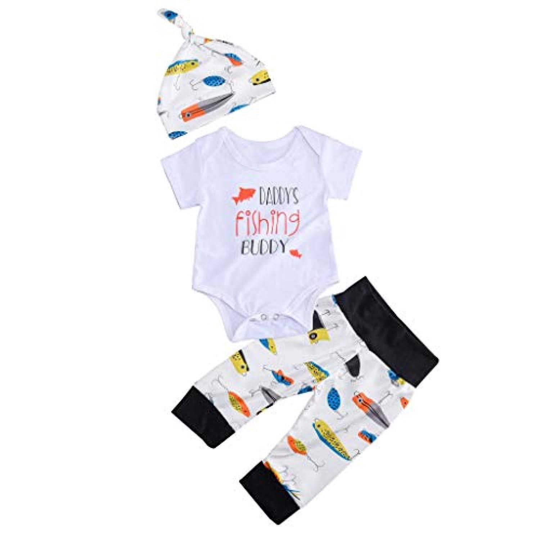 3点セット 夏の可愛い服 (6-24M)幼児子供用 幸運な太陽 赤ちゃん 春 秋 男の子 新生児 半袖 レタープリントの上衣+アニメカラー魚長ズボン+帽子 ロンパースセット 通気性 快適 涼しい ファッション