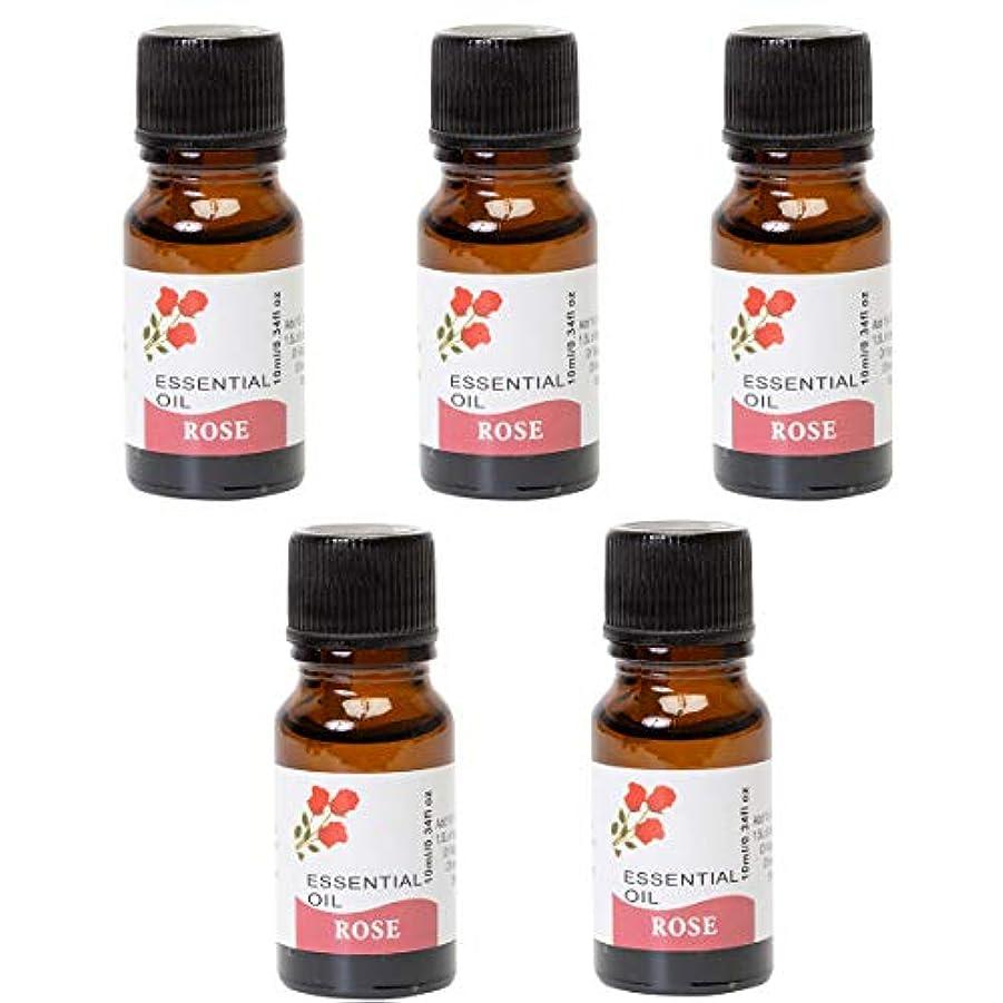 幾分役職絶壁【天然100%オイルの心地よい香りでリラックス エッセンシャルオイル 5本セット】 天然100%の自然の力でリフレッシュ アロマバスとしても使える 1本10ml×5本入り 芳香剤 アロマ (ローズの香り)