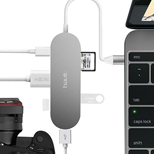 USB C ハブ Havit HV-TPC68 USBType-Cチャージング、プラグ&プレイ、アルミニウム合金製パワーデリバリー 3.1 Type C ハブ mac macbook マックブック 1xHDMIポート 3x USB 3.0ポート 1xSD/SDHCカードリーダー (シルバー)