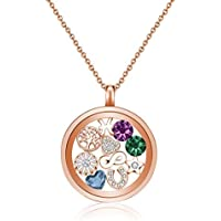 Mestige Jewellery Rose Gold Water Lily Floating Charm Necklace with Crystals from Swarovski®