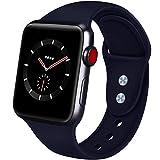AIGENIU コンパチブル Apple Watch バンド、2個留め具のシリコン柔らかいスポーツ アップルウォッチ バンド、S/M M/Lを選択できますApple Watch Series 4/3/2/1に対応 (38mm/40mm S/M, ミッドナイトブルー)