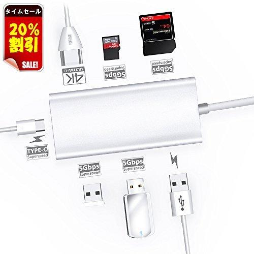 USB C ハブ DNYCF 4k HDMI 7ポート軽便USB 3.0三つ Type c Hub マルチ変換アダプタSD/TFカードリーダ PD2.0スマート急速充電 Windows/Mac OS/Linux適用