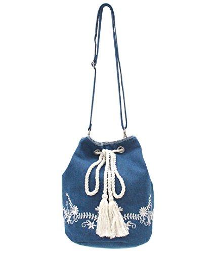 ANAP(アナップ) フラワー刺繍巾着バッグ ネイビー F
