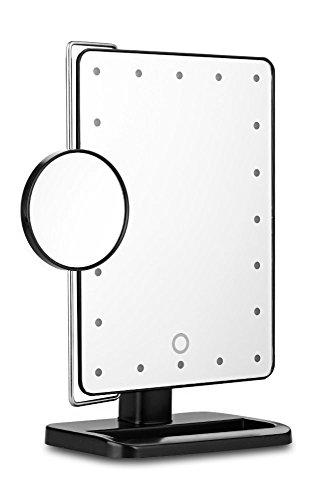 化粧鏡 20個ライト付きメイクミラー タッチパネル3段階調光可能 10倍拡大鏡 角度自由調整 4×単三電池 女優鏡