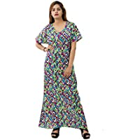 5aefaf374f114 Handicraft-Palace Abstract Indian Cotton Nighty Women s Gown Short Sleeve  Dress Bikini Cover Up Night