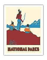 国立公園 - ネイティブアメリカン - ビンテージな世界旅行のポスター によって作成された ドロシー・ワー c.1935 - アートポスター - 28cm x 36cm