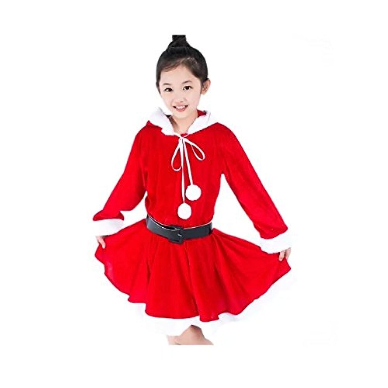 Burning Go クリスマスグッズ サンタ服 ドレス リボン付き 女の子 フード付き かわいい コスチューム