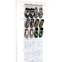 (24 Clear Pockets, Gray) - 24 Pockets - SimpleHouseware Crystal Clear Over the Door Hanging Shoe Organiser, Grey (160cm x 48cm )