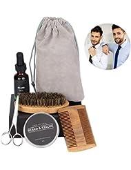 髭手入れキット、髭手入れキットを含む男性または父親のための髭成長手入れおよびトリミングキット、髭オイル、髭ケアバーム、櫛、はさみ、ブラシ、収納袋