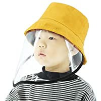 With Transparent Shield, Splash Anti-Spitting Anti-Fog Anti-Oil Protective Cap Kids Fisherman Hat Removable Face Shield(Black) Full Protection For Child boy and girl (Color : Yellow)